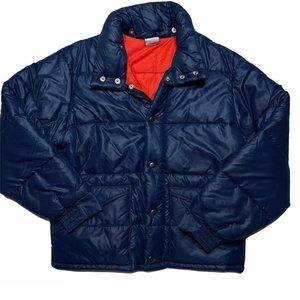 Vintage Mens Blue Puffer Jacket Medium Orange